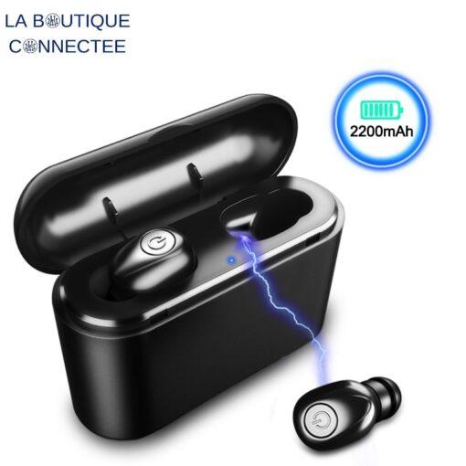 Achat ecouteurs sans fils bluetooth 5.0 station de charge